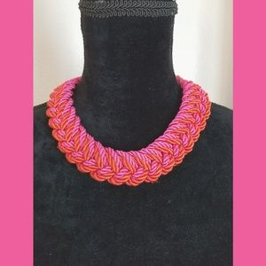 Pink & Orange Twisted Cord Choker Necklace